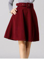 Pure Color Belted A-Line Skirt - WINE RED