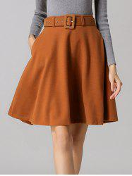 Belted Winter Skater Skirt