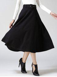 High Waist Pure Color Tweed Midi Skirt - BLACK XL