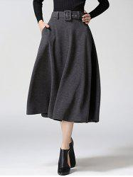 High Waist Pure Color Tweed Midi Skirt - GRAY
