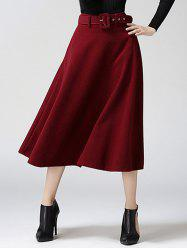 High Waist Pure Color Tweed Midi Skirt - WINE RED