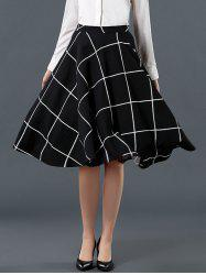 High Waist Plaid Pattern Flare Skirt - BLACK