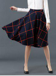 High Waist Plaid Pattern Flare Skirt - DEEP BLUE