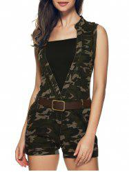 Plunging Neck Camouflage Belted Romper -