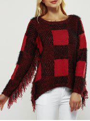 Checked Fuzzy Round Neck Long Sleeve Sweater -