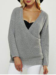 Fitting Wrap Plunging Neck Long Sleeve Sweater - GRAY