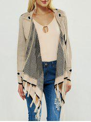 Fringed Asymmetric Collarless Long Sleeve Cardigan - APRICOT