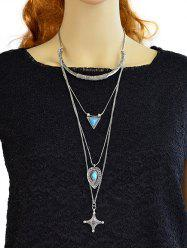 Faux Turquoise Triangle Cross Sweater Chain - SILVER