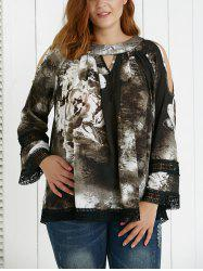 Plus Size Hollow Out Ink Painting Blouse -
