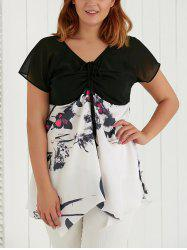 Plus Size V Neck Butterfly Print Asymmetric Blouse -