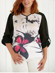 Plus Size Asymmetric V Neck Butterfly Print Blouse