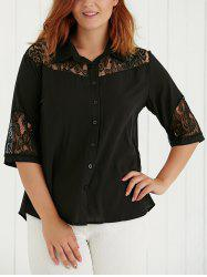 Plus Size Lace Spliced Hollow Out Blouse - BLACK