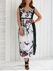 Plus Size V Neck Ink Painting Furcal Maxi Dress -