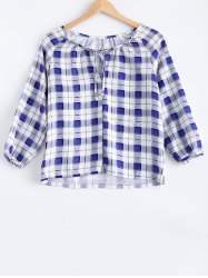 Asymmetric Hem Plaid Tee -