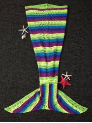 Stripe Pattern Hollow Out Knitting Mermaid Shape Blanket