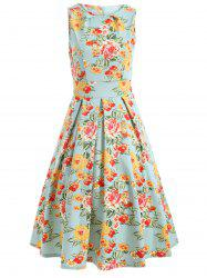 Sleeveless Floral Print A Line Vintage Tea Dress
