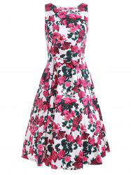 Sleeveless Flower Print A Line Dress - FLORAL L