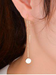 Pair of Disc Pendant Long Chain Ear Threads