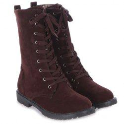 Tie Up Suede Flat Mid Boots