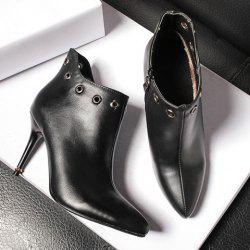 Zip Rivet Stiletto Heel Pointed Tote Ankle Boots