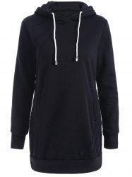 Hooded Long Sweatshirt - BLACK