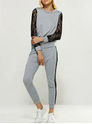 Lace Panel Tee and Jogger Pants - GRAY