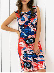 Abstract Colorful Print Skinny Dress