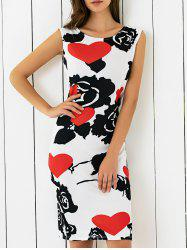 Abstract Heart Print Skinny Dress - BLACK AND WHITE AND RED XL