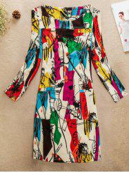 Colorful Pattern Jewel Neck Dress
