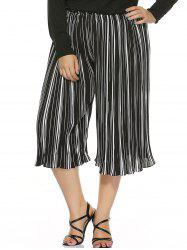 Plus Size Striped Capri Chiffon Palazzo Pants