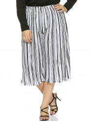 Plus Size Striped High Waisted Palazzo Pants