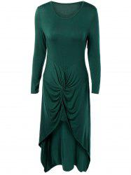 Long Sleeve High Low Front Knot Maxi Dress -