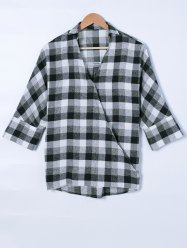 Faux Wrap Plaid Print Blouse - CHECKED XL