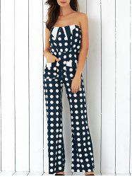Polka Dot High Waist Strapless Jumpsuit -
