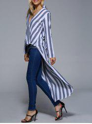 Long Sleeves Asymmetric Striped Blouse -