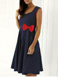 Retro Bowknot Polka Dot Flare Dress