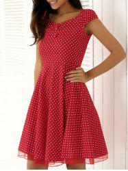 Vintage Spliced Buttoned Polka Dot Swing Dress