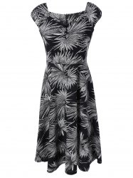 Buttoned Leaf Print Swing Dress - BLACK 2XL