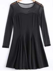 Black Mesh Spliced Long Sleeves Dress -