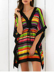 Butterfly Sleeves High Waist Striped Dress - COLORFUL