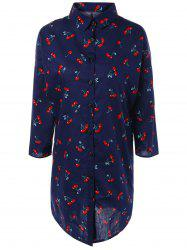 Cherry Print Loose-Fitting Shirt Dress