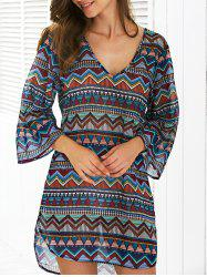 Geometric Print Asymmetric Side Slit Chiffon Aztec Print Dress