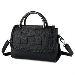 Metal PU Leather Plaid Pattern Shoulder Bag - BLACK
