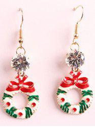 Artificial Crystal Christmas Bowknot Wreath Drop Earrings -