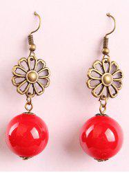 Waterdrop Faux Pearl Hollowed Flower Drop Earrings -