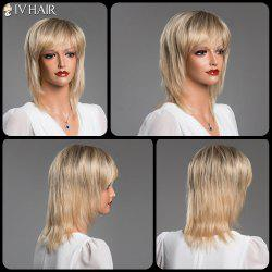 Medium Layered Straight Full Bang Siv Real Natural Hair Wig - COLORMIX