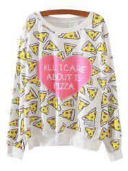 Heart Pizza Print Loose Sweatshirt