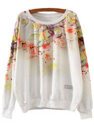 Flower Print Loose Sweatshirt - WHITE L