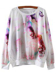 Preppy Print Loose Sweatshirt