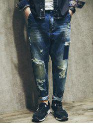 Camo Letter Print Spliced Zipper Fly Ripped Jeans -